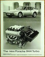 PORSCHE 944 TURBO PRESS PHOTOGRAPH CIRCA 1985 BLACK & WHITE