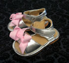 NWT Girl's SANDALS - SILVER add a bow Squeaky Shoes size 4 5 6 7 8 9