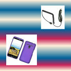 Car Charger+e.Purple LG Esteem MS910/Bryce Phone Cover Hard Shell Case Skin