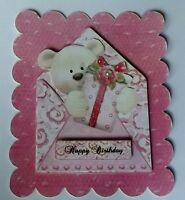 PK 2 BEARY BEAR HAPPY BIRTHDAY TOPPER EMBELLISHMENT FOR CARDS OR CRAFTS