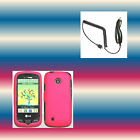 Car Charger+Pink LG Cosmos Touch VN270 Phone Cover Hard Shell Case Cover Skin