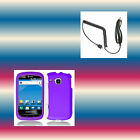 Car Charger+Purple Samsung DoubleTime SGH-i857 Faceplate Phone Cover Hard Case