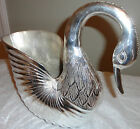 Vtg Heavy Swan Silver Metal Flower Pot / Napkin Holder 9x10x6 From SeaIsland GA