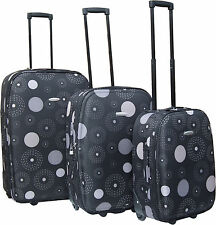 Black Print Fabric Trolley Suitcases Cabin Luggage Airport Travelling 3 Sizes