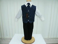 Boys Navy Blue Black 4 Piece Suit Wedding PageBoy Party Formal Occasion 3-6 Mts