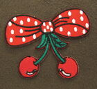 BOW & CHERRYS Iron On/Sew On Patch Emo Goth Punk Rockabilly Good Quality