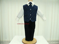 Boys Navy Blue Black 4 Piece Suit Wedding Pageboy Party Formal Occasion Age 2