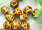 100pcs Leopard grain design wood  beads 10mm charm spacer beads