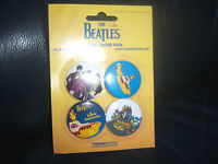 The Beatles YELLOW SUBMARINE Badges, Pins,  x 4 brand new Apple Corps ON CARD