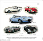 E-TYPE JAGUAR Series 1, 2 & 3 - FINE ART PRINT - Roadster Coupe Sports Car XK-E
