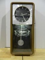 MILLER BEER SIGN CLOCK HIGH LIFE LIGHTED PENDULUM WALL CLOCK VINTAGE OLD BREWERY