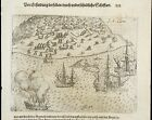 ST CATHARINE - SAINT CATHERINE 1593 DE BRY, EARLY VIEW OF A BRAZILIAN PORT