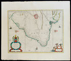 BRASILIA c.1642 BLAEU, IMPORTANT AND EARLY CHART OF EASTERN BRAZIL, FINE COLOUR