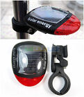 Solar Power Bike Bicycle Cycling Rear Back Tail Red LED Flash Light CAUTION Lamp