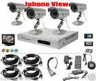 4CH 4 CHANNELS H&G Video Surveillance CCTV DVR Security System 4 Outdoor Camera