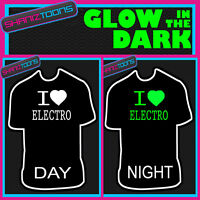 I LOVE ELECTRO  MUSIC DJ FESTIVAL IBIZA GLOW IN THE DARK PRINTED TSHIRT