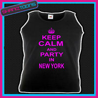 KEEP CALM AND PARTY IN NEW YORK HOLIDAY CLUBBING HEN PARTY UNISEX VEST TOP