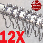 12 X CHROME POLISHED SATIN NICKEL 5 ROLLERBALL SHOWER CURTAIN RING RINGS HOOKS