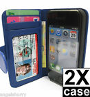 Blue Apple iPhone 4 4G 4S 4GS Wallet Credit Card Flip Leather Pouch Case Cover