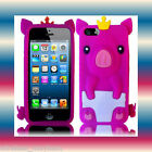 Pig Smooth Silicon H.Pink Apple iPhone 5 5G 6th Gen Soft Phone Cover Case Skin