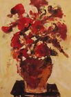 "Hand Painted Oil Painting on Flat Canvas 12""x16""-Red Bouquet on Table"