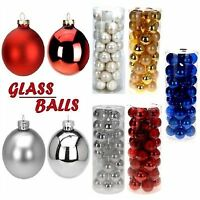 NEW DECORATIVE ROUND GLASS BALLS CHRISTMAS TREE HANGING DECORATION XMAS FESTIVE