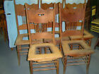 5 Matching Oak Pressed Back Chairs - Early 1900's -