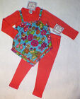 NWT 8 yr Boutique COTTON KIDS Knit 2in1 WINTER ROSES Tunic 2pc Pant SET