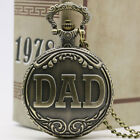 Vintage DAD  Bronze Quartz Big Pocket Watch Necklace Chain Gift P38