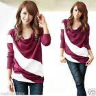 New Womens Lady Casual T-Shirt Dolman Long Sleeve Color Block TEEs Top Blouses