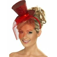 Christmas Party Red Glitter Burlesque Mini Top Hat With Veil Fancy Dress