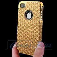 Luxury Leather Gold Chrome Hard Case Cover For Apple iPhone 4 4S 4G+Stylus+Film