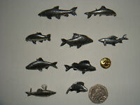 Pewter Pin Brooch/Badge/Pin, Fish/Perch/Tench/Roach/Barbel Signed T S Brown