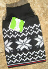 UGLY PET SWEATER ~FOR DOGS/CATS ~(S, M)~ BLACK / WHITE SNOW FLAKES ~ CLOTHES