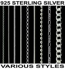 "925 STERLING SILVER 14 16 18 20 22 24 26 28 30"" INCH CURB TRACE CHAIN NECKLACE"