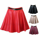 Womens Wet Look Gold Studded Belted Skater Short Skirt