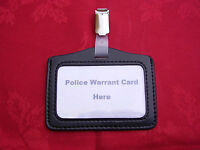 Black ID Pass/Warrant Card/Badge Holder+Plastic/Metal Belt Clip -POLICE/CO19 (L)