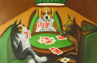 "High Quality Hand Painted Oil On Canvas 24"" X 36""- Poker Playing Pups"
