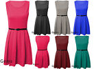 Womens Sleeveless Tailored Skater Dress Ladies Belted Pleated Party Dress Top