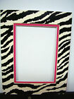 Picture Framing Mat 8x10 for 5x7 photo Zebra Black White Hot Pink animal