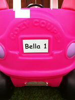 PAIR OF ENGRAVED NUMBER PLATES FOR CHILDRENS LITTLE TIKES COZY COUPE TOY