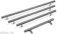 25 x T bar handle kitchen/bedroom cabinet door handles 128mm - Brushed Steel