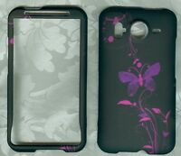 butterfly blk purple HTC Inspire 4G AT&T PHONE COVER HARD PROTECTOR CASE