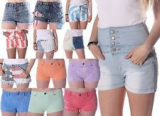 NEW Womens Summer Denim Shorts Sexy Hotpants Frayed Dip Dyed USA High Waisted