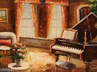 """Oil Painting On Canvas 12""""x 16"""" ~ Living Room with Piano"""