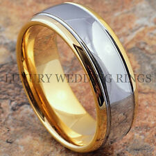 Mens Tungsten Carbide Ring 8mm 18K Gold Wedding Band Bridal Jewelry Size 6-13