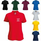 New Personalised Custom Womens Ladies Fruit Of The Loom Lady Fit Polo Shirt