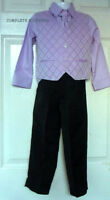 Boys Lilac Waistcoat Black Trousers 4 Piece Suit Wedding Page Boy Party Age 3-4