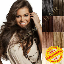 New Clip In Remy Human Hair Extensions Full Head Extra Thick Black Blonde Brown