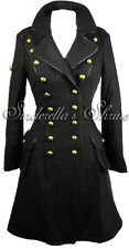 Hell Bunny Coat Black Steampunk Imma 40s Military Winter Corset Size 6-22 XS-4XL